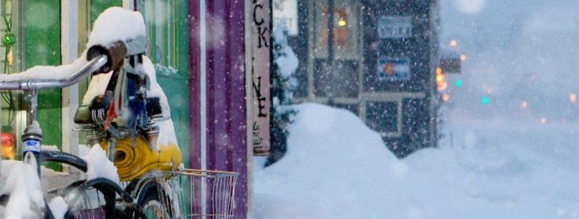 Snowy Bike on Main Street